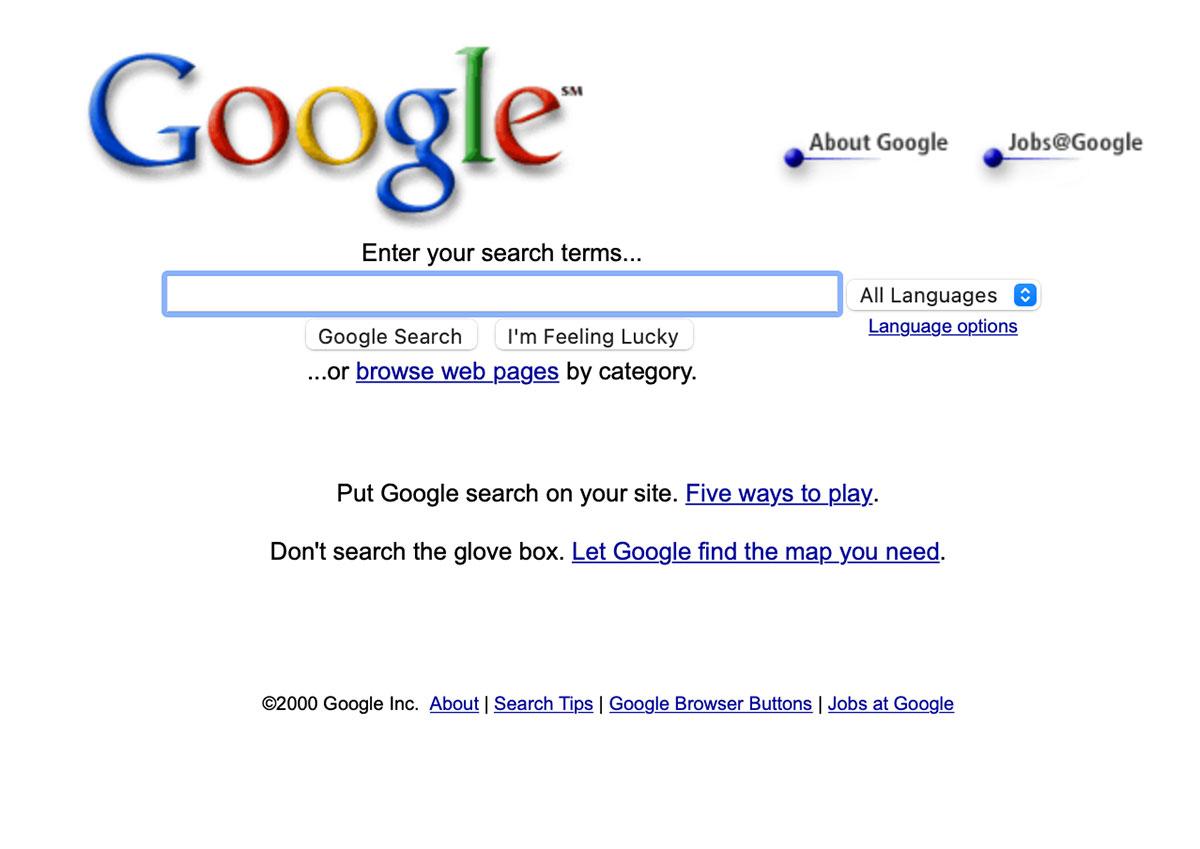 2000年代初頭のGoogle.com